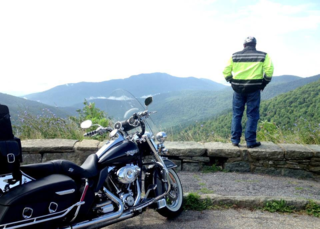 Riding my Harley on the Blue Ridge Mountains.