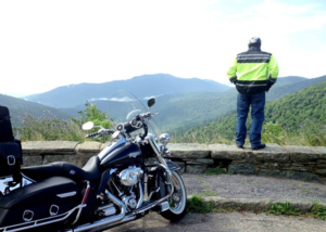 Dan riding on Blue Ridge Mountains